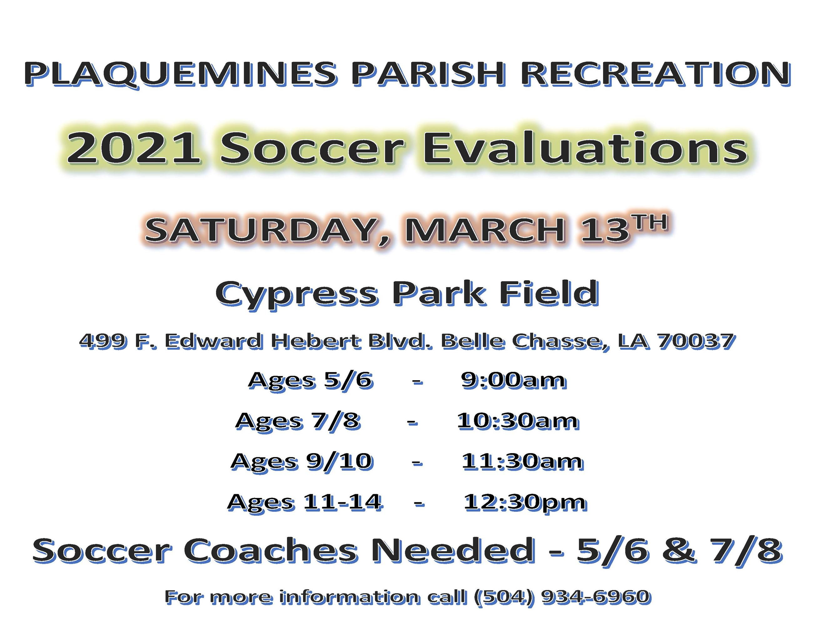 2021 Soccer Evaluations