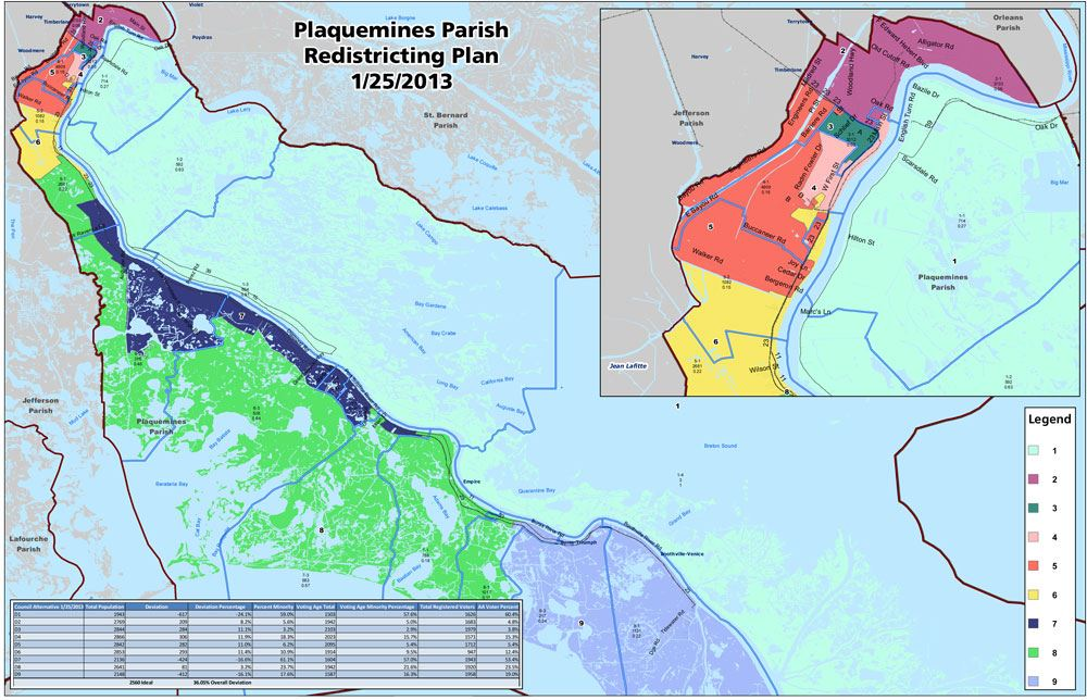 Plaquemines Parish Redistricting Plan Map (JPG)