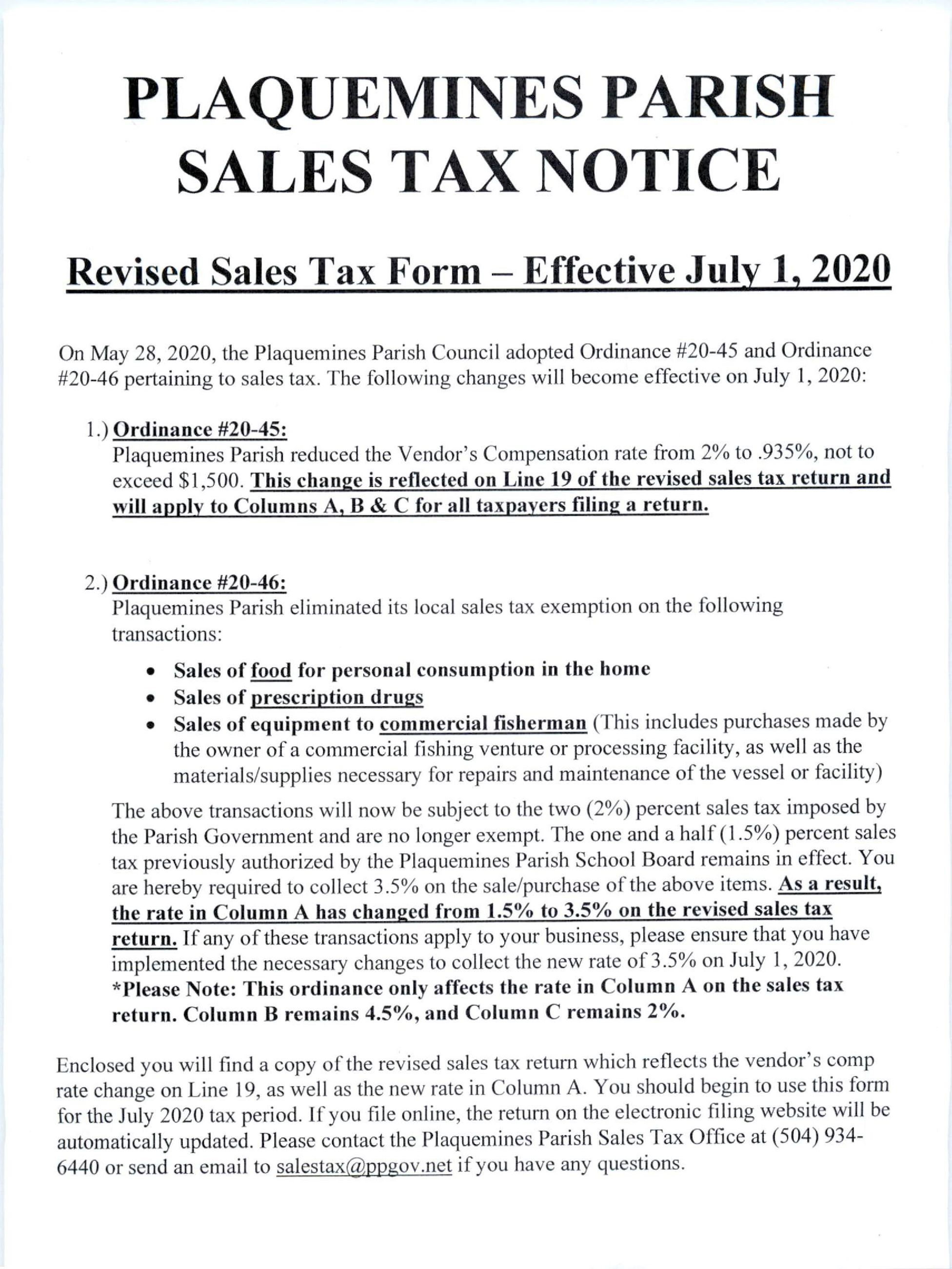 Sales Tax Notice